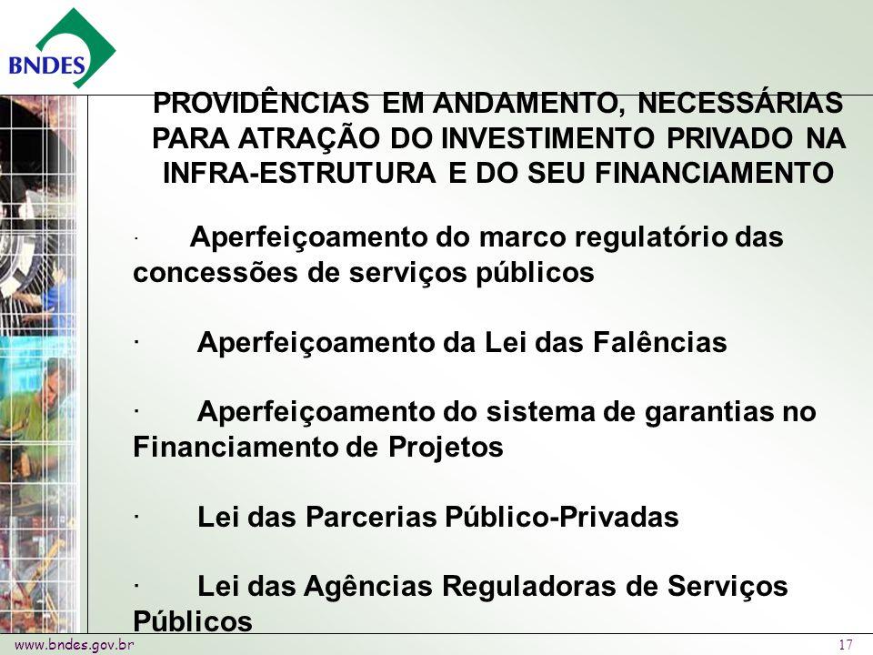 www.bndes.gov.br 17 PROVIDÊNCIAS EM ANDAMENTO, NECESSÁRIAS PARA ATRAÇÃO DO INVESTIMENTO PRIVADO NA INFRA-ESTRUTURA E DO SEU FINANCIAMENTO · Aperfeiçoamento do marco regulatório das concessões de serviços públicos · Aperfeiçoamento da Lei das Falências · Aperfeiçoamento do sistema de garantias no Financiamento de Projetos · Lei das Parcerias Público-Privadas · Lei das Agências Reguladoras de Serviços Públicos