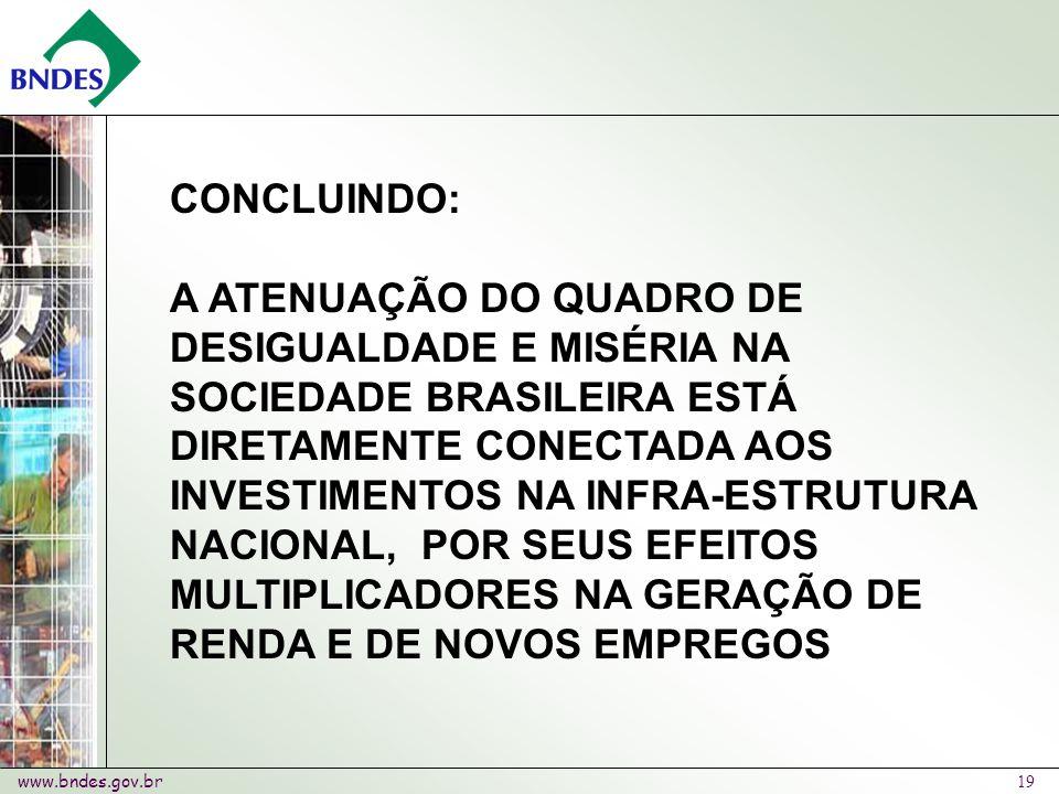 www.bndes.gov.br 19 CONCLUINDO: A ATENUAÇÃO DO QUADRO DE DESIGUALDADE E MISÉRIA NA SOCIEDADE BRASILEIRA ESTÁ DIRETAMENTE CONECTADA AOS INVESTIMENTOS NA INFRA-ESTRUTURA NACIONAL, POR SEUS EFEITOS MULTIPLICADORES NA GERAÇÃO DE RENDA E DE NOVOS EMPREGOS