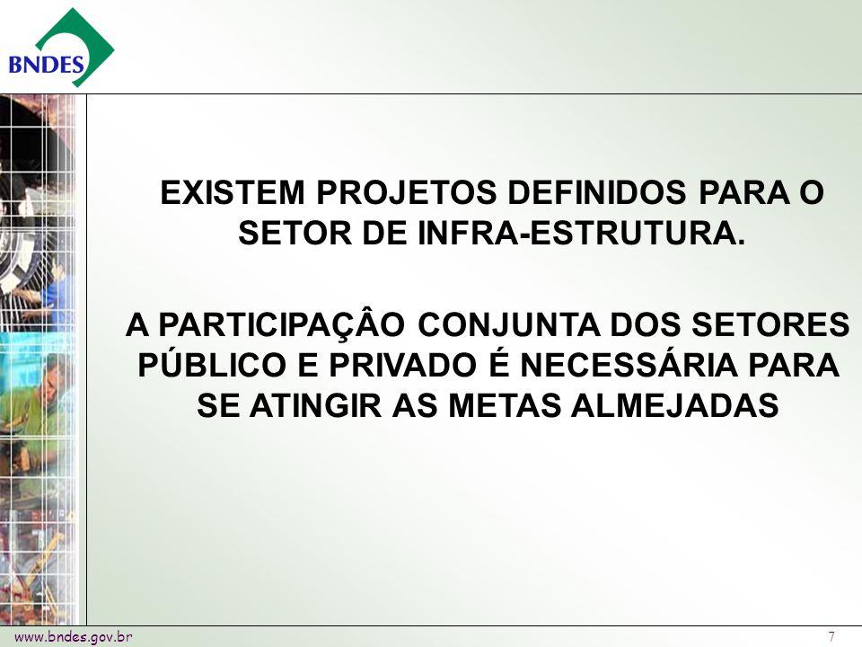 www.bndes.gov.br 7 EXISTEM PROJETOS DEFINIDOS PARA O SETOR DE INFRA-ESTRUTURA.