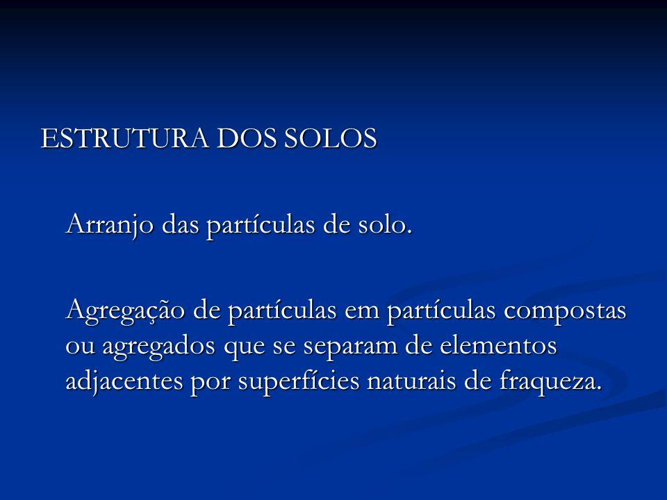 ESTRUTURA DOS SOLOS Arranjo das partículas de solo. Agregação de partículas em partículas compostas ou agregados que se separam de elementos adjacente