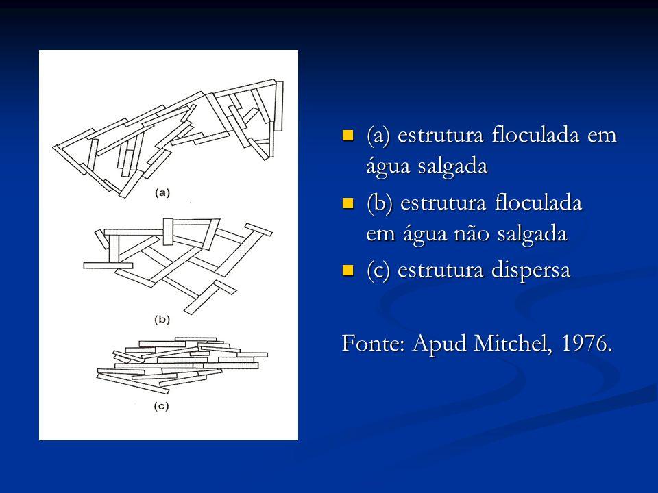 (a) estrutura floculada em água salgada (b) estrutura floculada em água não salgada (c) estrutura dispersa Fonte: Apud Mitchel, 1976.