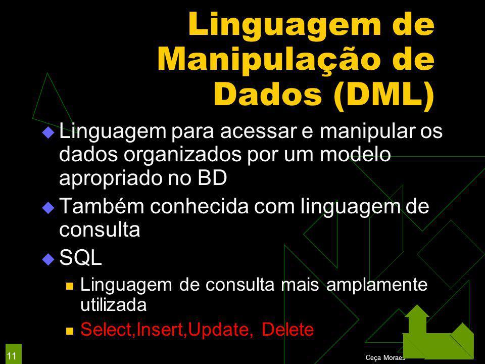 Ceça Moraes 11 Linguagem de Manipulação de Dados (DML)  Linguagem para acessar e manipular os dados organizados por um modelo apropriado no BD  Também conhecida com linguagem de consulta  SQL Linguagem de consulta mais amplamente utilizada Select,Insert,Update, Delete