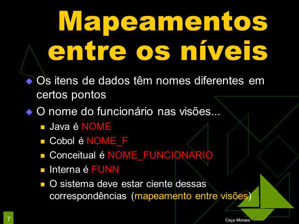 Ceça Moraes 7 Mapeamentos entre os níveis  Os itens de dados têm nomes diferentes em certos pontos  O nome do funcionário nas visões...
