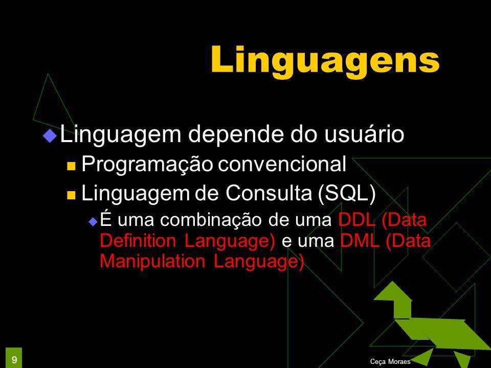 Ceça Moraes 9 Linguagens  Linguagem depende do usuário Programação convencional Linguagem de Consulta (SQL)  É uma combinação de uma DDL (Data Definition Language) e uma DML (Data Manipulation Language)