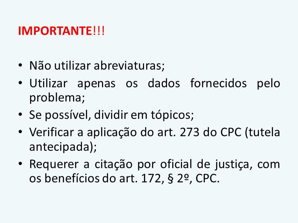 ESTRUTURA BÁSICA DA PETIÇÃO NO RITO SUMÁRIO RequisitosArt.