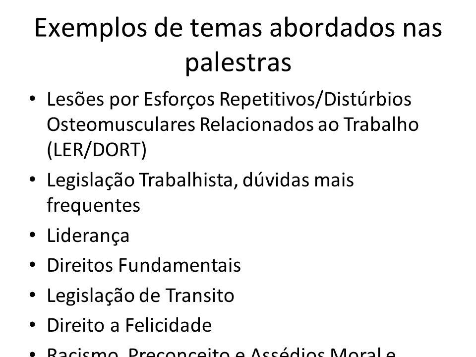 Exemplos de temas abordados nas palestras Lesões por Esforços Repetitivos/Distúrbios Osteomusculares Relacionados ao Trabalho (LER/DORT) Legislação Tr
