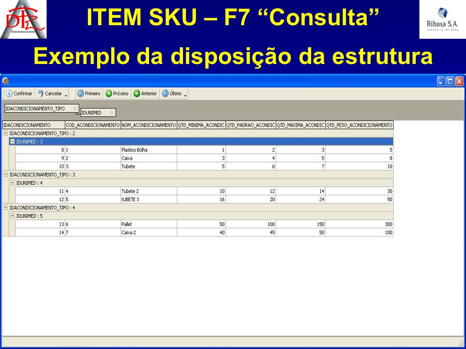 """ITEM SKU – F7 """"Consulta"""" Exemplo da disposição da estrutura"""
