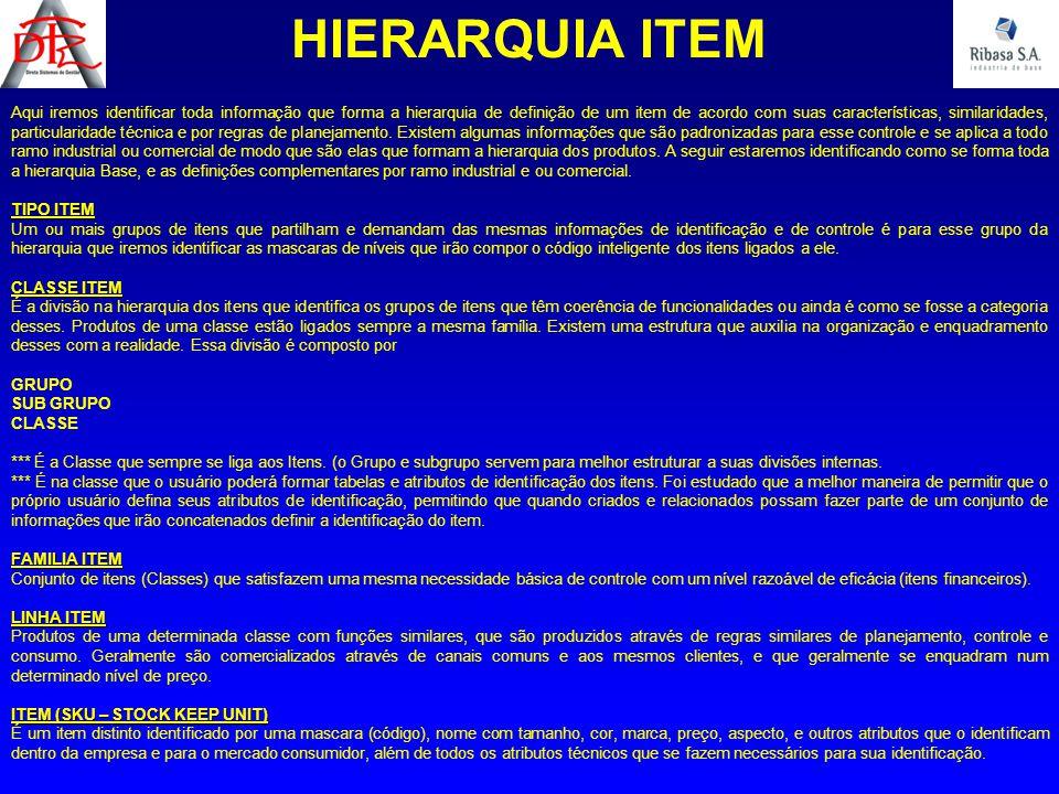 Aqui iremos identificar toda informação que forma a hierarquia de definição de um item de acordo com suas características, similaridades, particularid