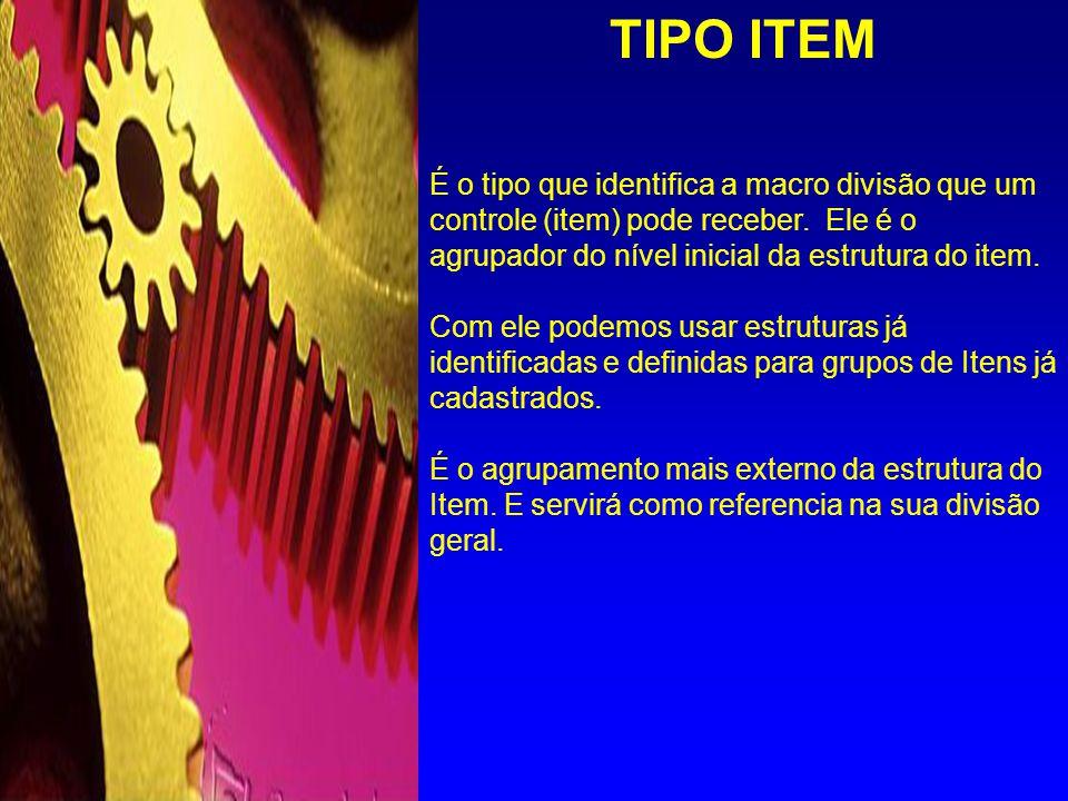 Tipo Item Sub Grupo Grupo Configuração Classe Contra Tipo (Opcional) Estrutura do ITEM Sequencial ITEM IDENTIFICAÇÃO TIPOS DE CONTROLE: SKU EQUIPAMENTO MANUTENÇÃO FERRAMENTA ENSAIO RECURSO PROJETO Os níveis de definição da estrutura de codificação dos itens esta sempre relacionada e referenciada pelo tipo de controle ao qual o item se aplica.