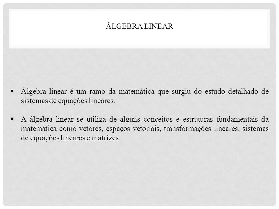  Álgebra linear é um ramo da matemática que surgiu do estudo detalhado de sistemas de equações lineares.  A álgebra linear se utiliza de alguns conc