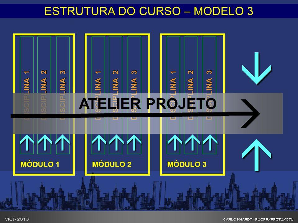 CARLOS HARDT –PUCPR/PPGTU/GTU CICI - 2010 CARLOS HARDT –PUCPR/PPGTU/GTU INOVAÇÃO NA FORMAÇÃO DE GESTORES DE CIDADES ESTRUTURA DO CURSO – MODELO 3 DISC