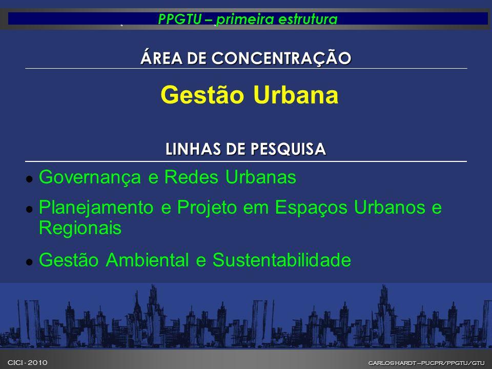 CARLOS HARDT –PUCPR/PPGTU/GTU CICI - 2010 CARLOS HARDT –PUCPR/PPGTU/GTU INOVAÇÃO NA FORMAÇÃO DE GESTORES DE CIDADES PPGTU – primeira estrutura ÁREA DE CONCENTRAÇÃO Gestão Urbana LINHAS DE PESQUISA l Governança e Redes Urbanas l Planejamento e Projeto em Espaços Urbanos e Regionais l Gestão Ambiental e Sustentabilidade