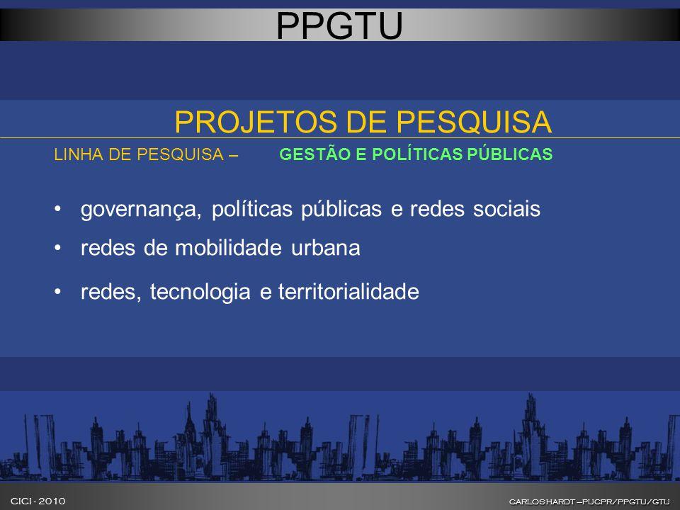 CARLOS HARDT –PUCPR/PPGTU/GTU CICI - 2010 CARLOS HARDT –PUCPR/PPGTU/GTU INOVAÇÃO NA FORMAÇÃO DE GESTORES DE CIDADES PPGTU PROJETOS DE PESQUISA LINHA DE PESQUISA – GESTÃO E POLÍTICAS PÚBLICAS governança, políticas públicas e redes sociais redes de mobilidade urbana redes, tecnologia e territorialidade