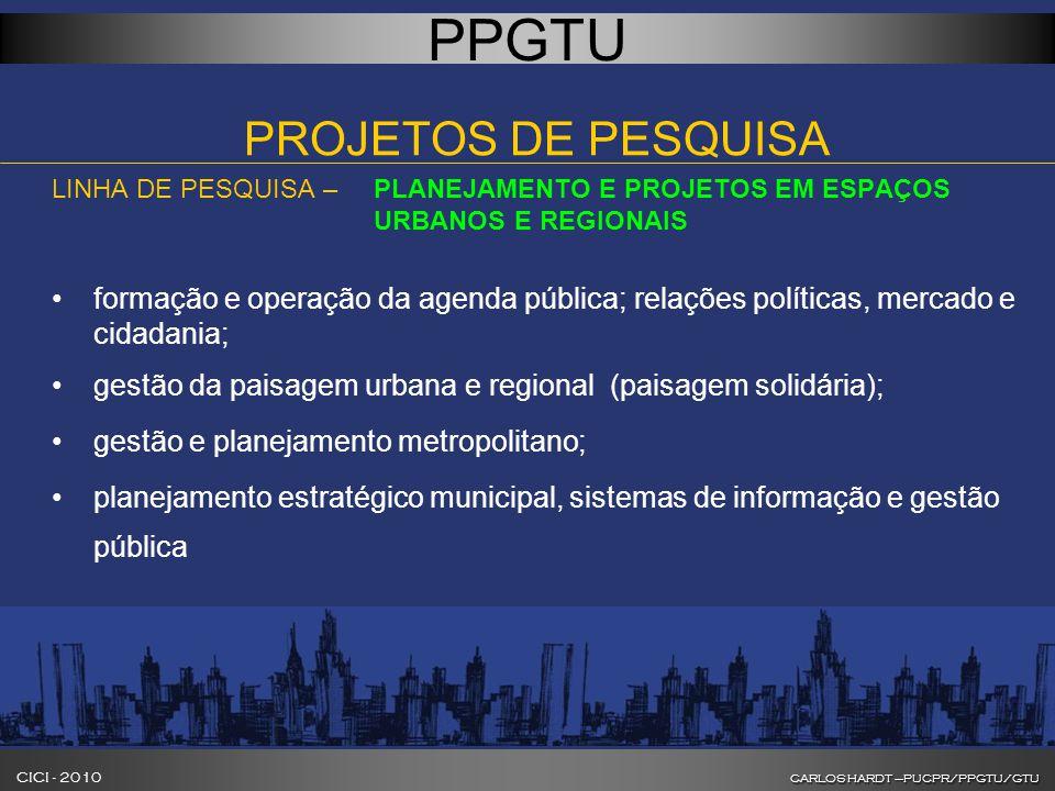 CARLOS HARDT –PUCPR/PPGTU/GTU CICI - 2010 CARLOS HARDT –PUCPR/PPGTU/GTU INOVAÇÃO NA FORMAÇÃO DE GESTORES DE CIDADES PPGTU PROJETOS DE PESQUISA LINHA DE PESQUISA – PLANEJAMENTO E PROJETOS EM ESPAÇOS URBANOS E REGIONAIS formação e operação da agenda pública; relações políticas, mercado e cidadania; gestão da paisagem urbana e regional (paisagem solidária); gestão e planejamento metropolitano; planejamento estratégico municipal, sistemas de informação e gestão pública