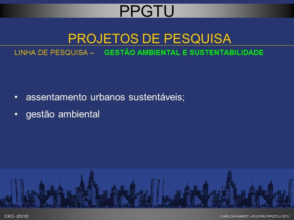 CARLOS HARDT –PUCPR/PPGTU/GTU CICI - 2010 CARLOS HARDT –PUCPR/PPGTU/GTU INOVAÇÃO NA FORMAÇÃO DE GESTORES DE CIDADES PPGTU PROJETOS DE PESQUISA LINHA DE PESQUISA – GESTÃO AMBIENTAL E SUSTENTABILIDADE assentamento urbanos sustentáveis; gestão ambiental