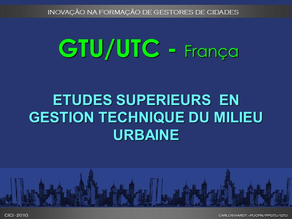 CARLOS HARDT –PUCPR/PPGTU/GTU CICI - 2010 CARLOS HARDT –PUCPR/PPGTU/GTU INOVAÇÃO NA FORMAÇÃO DE GESTORES DE CIDADES GTU/UTC - França GTU/UTC - França