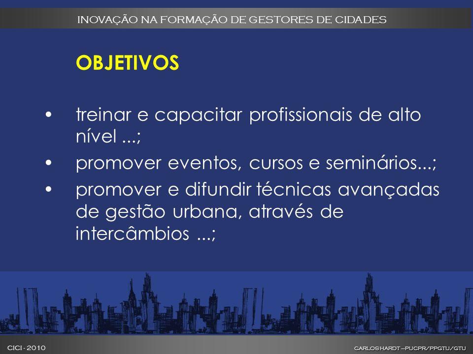 CARLOS HARDT –PUCPR/PPGTU/GTU CICI - 2010 CARLOS HARDT –PUCPR/PPGTU/GTU INOVAÇÃO NA FORMAÇÃO DE GESTORES DE CIDADES OBJETIVOS treinar e capacitar profissionais de alto nível...; promover eventos, cursos e seminários...; promover e difundir técnicas avançadas de gestão urbana, através de intercâmbios...;