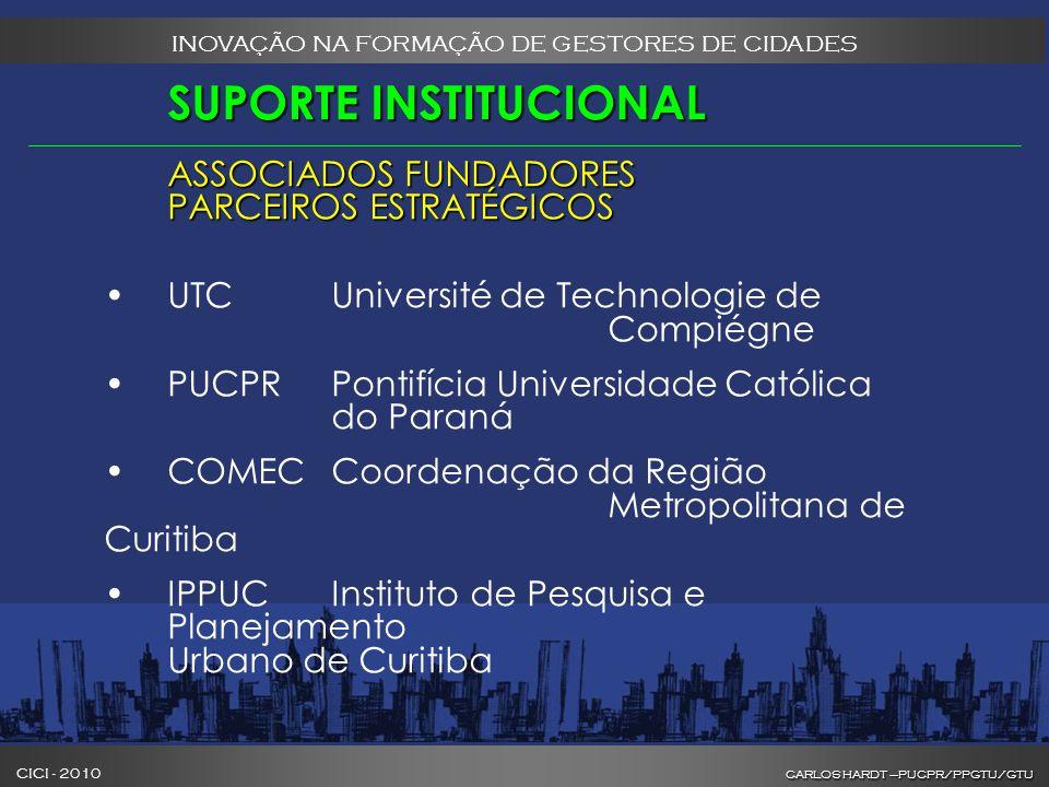 CARLOS HARDT –PUCPR/PPGTU/GTU CICI - 2010 CARLOS HARDT –PUCPR/PPGTU/GTU INOVAÇÃO NA FORMAÇÃO DE GESTORES DE CIDADES SUPORTE INSTITUCIONAL ASSOCIADOS FUNDADORES PARCEIROS ESTRATÉGICOS UTCUniversité de Technologie de Compiégne PUCPRPontifícia Universidade Católica do Paraná COMECCoordenação da Região Metropolitana de Curitiba IPPUCInstituto de Pesquisa e Planejamento Urbano de Curitiba
