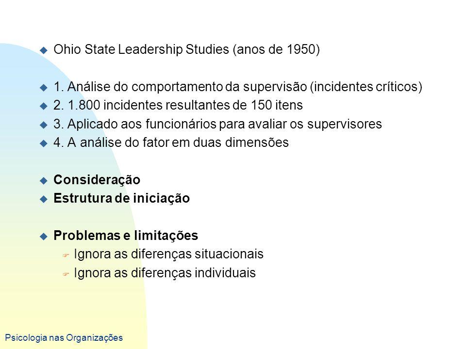 Psicologia nas Organizações u Ohio State Leadership Studies (anos de 1950) u 1. Análise do comportamento da supervisão (incidentes críticos) u 2. 1.80