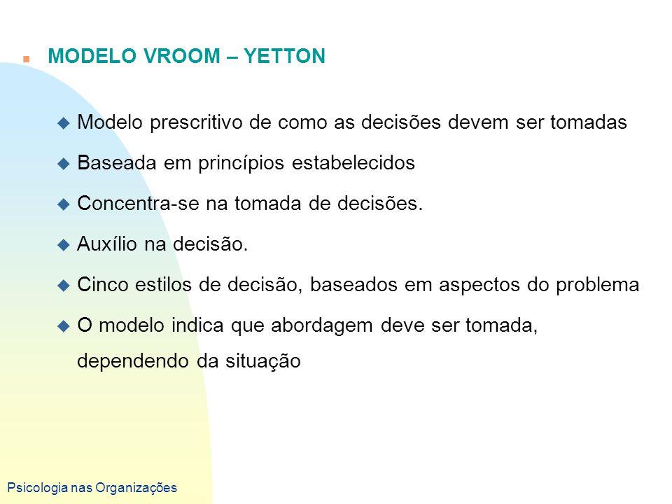 Psicologia nas Organizações n MODELO VROOM – YETTON u Modelo prescritivo de como as decisões devem ser tomadas u Baseada em princípios estabelecidos u