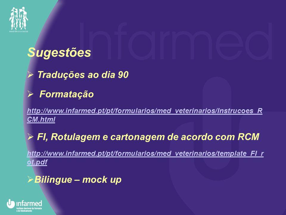 Sugestões  Traduções ao dia 90  Formatação http://www.infarmed.pt/pt/formularios/med_veterinarios/Instrucoes_R CM.html  FI, Rotulagem e cartonagem de acordo com RCM http://www.infarmed.pt/pt/formularios/med_veterinarios/template_FI_r ot.pdf  Bilingue – mock up