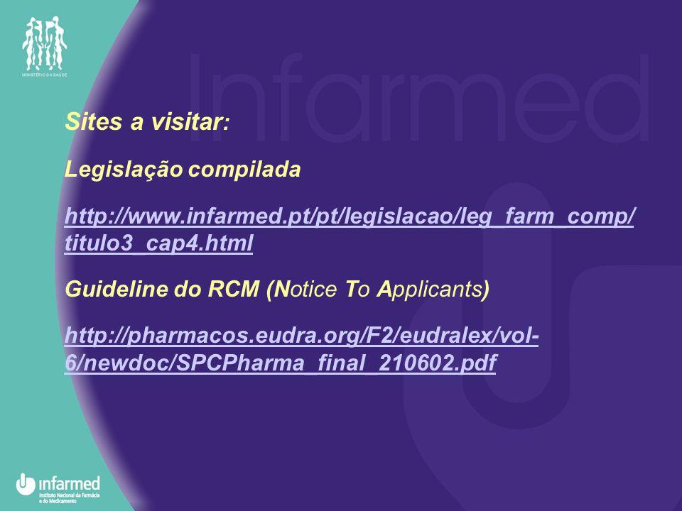 Sites a visitar : Legislação compilada http://www.infarmed.pt/pt/legislacao/leg_farm_comp/ titulo3_cap4.html Guideline do RCM (Notice To Applicants) http://pharmacos.eudra.org/F2/eudralex/vol- 6/newdoc/SPCPharma_final_210602.pdf
