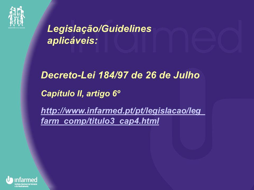 Guideline SPC NTA http://pharmacos.eudra.org/F2/eudralex/ vol- 6/newdoc/SPCPharma_final_210602.pdf Legislação/Guidelines aplicáveis: