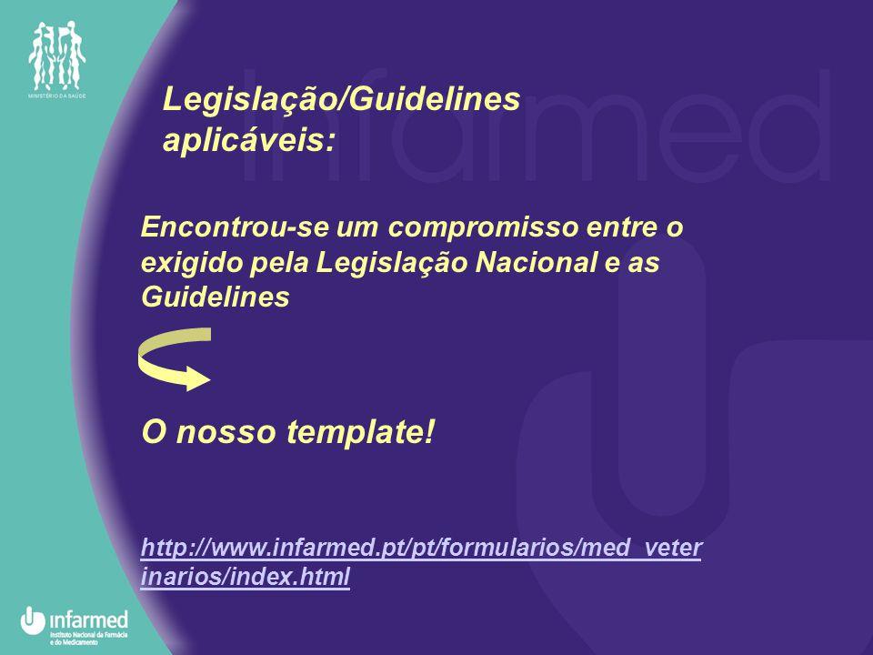 Encontrou-se um compromisso entre o exigido pela Legislação Nacional e as Guidelines O nosso template.