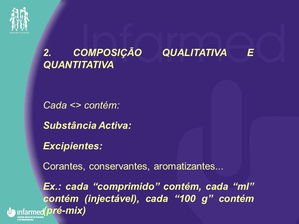 2.COMPOSIÇÃO QUALITATIVA E QUANTITATIVA Cada <> contém: Substância Activa: Excipientes: Corantes, conservantes, aromatizantes...
