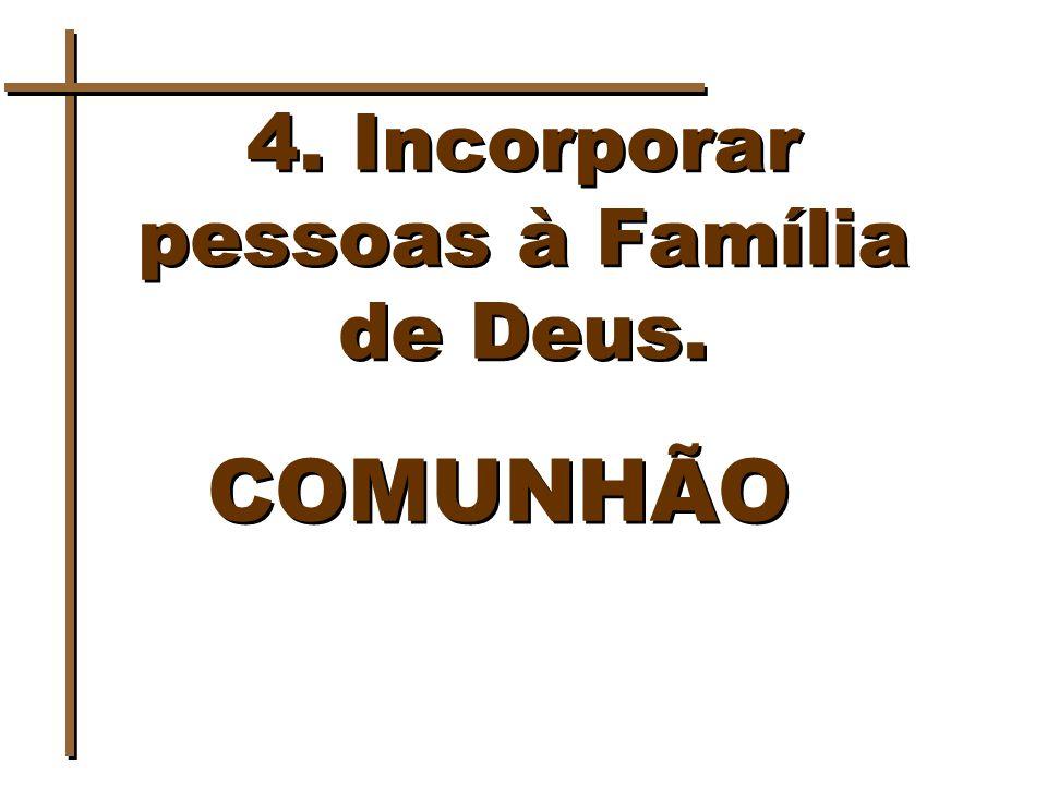 4. Incorporar pessoas à Família de Deus. COMUNHÃO
