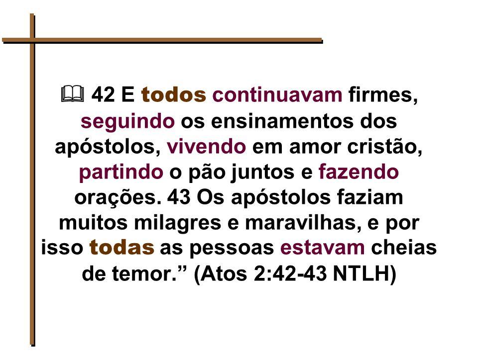  42 E todos continuavam firmes, seguindo os ensinamentos dos apóstolos, vivendo em amor cristão, partindo o pão juntos e fazendo orações.