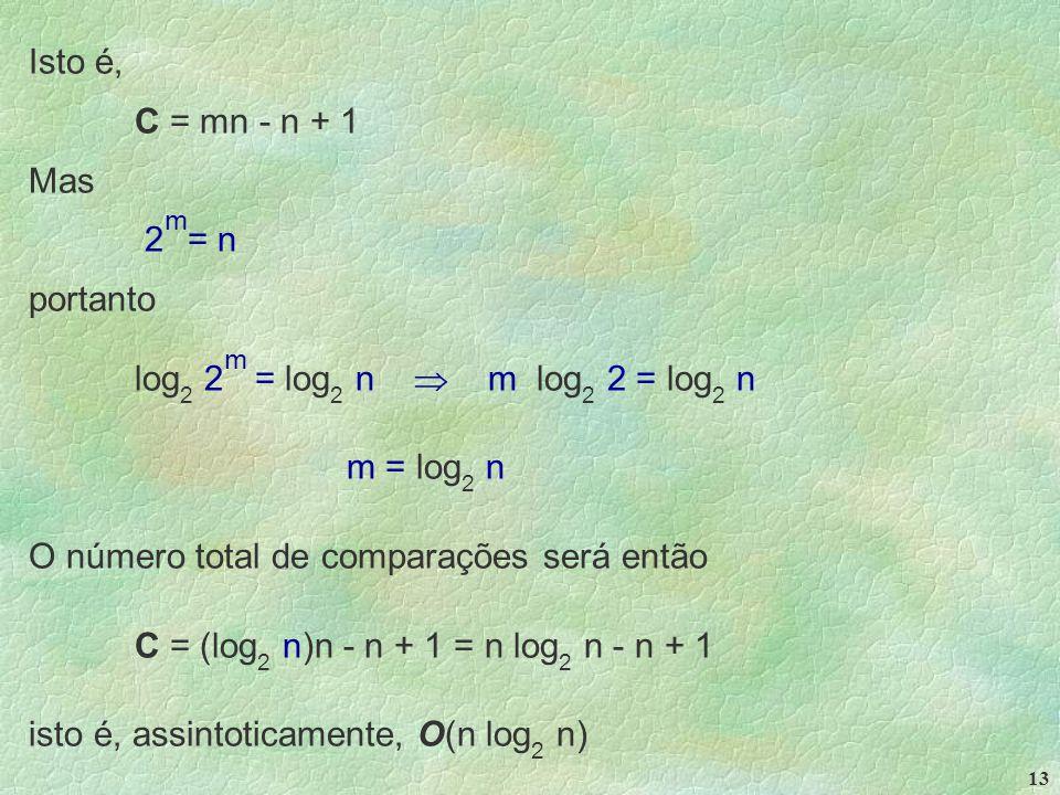 13 Isto é, C = mn - n + 1 Mas 2 m = n portanto log 2 2 m = log 2 n  m log 2 2 = log 2 n m = log 2 n O número total de comparações será então C = (log 2 n)n - n + 1 = n log 2 n - n + 1 isto é, assintoticamente, O(n log 2 n)