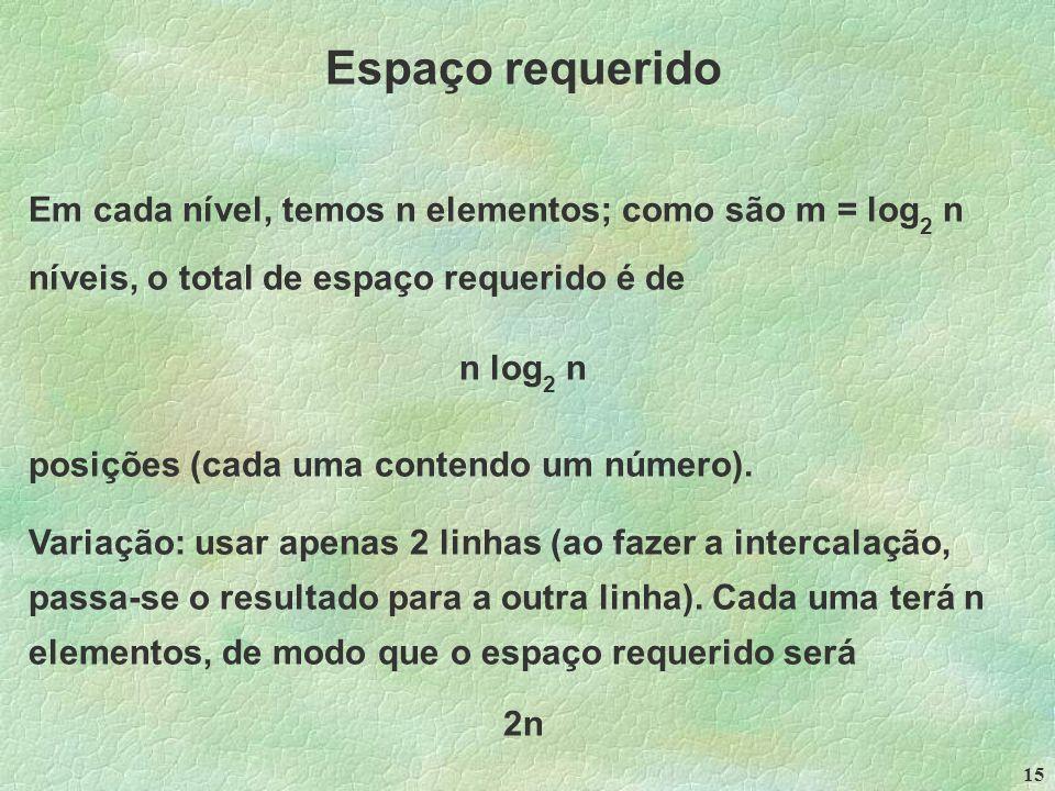 15 Espaço requerido Em cada nível, temos n elementos; como são m = log 2 n níveis, o total de espaço requerido é de n log 2 n posições (cada uma contendo um número).