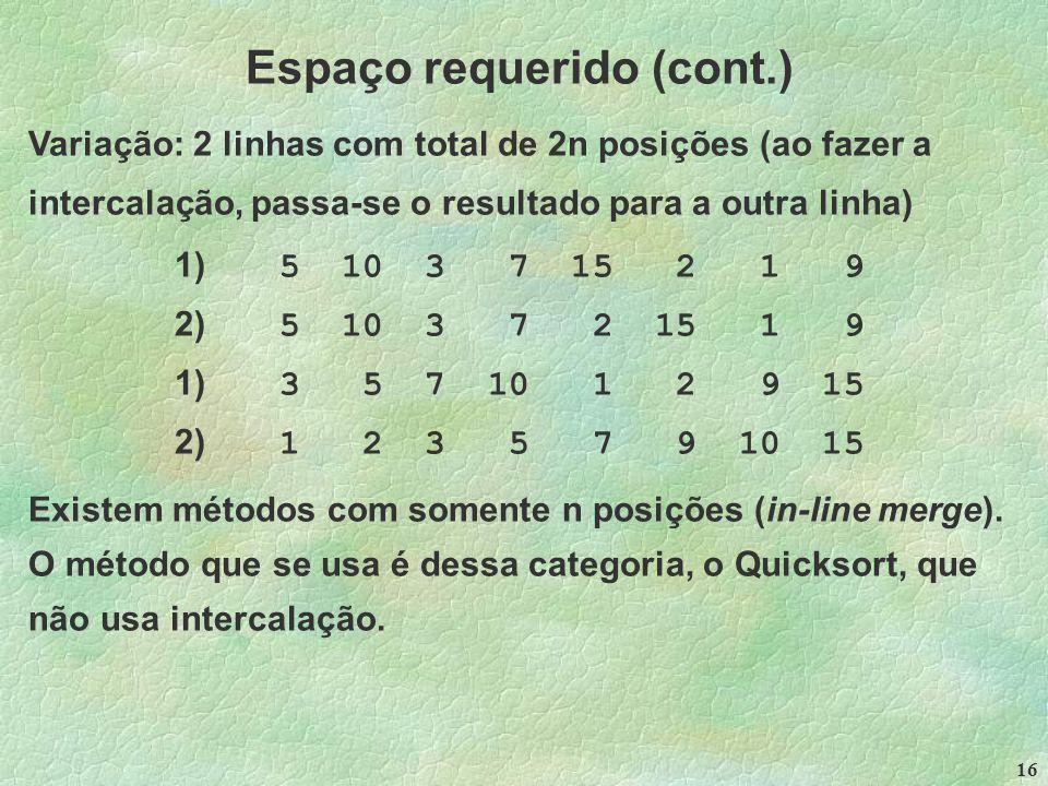 16 Espaço requerido (cont.) Variação: 2 linhas com total de 2n posições (ao fazer a intercalação, passa-se o resultado para a outra linha) 1) 5 10 3 7 15 2 1 9 2) 5 10 3 7 2 15 1 9 1) 3 5 7 10 1 2 9 15 2) 1 2 3 5 7 9 10 15 Existem métodos com somente n posições (in-line merge).