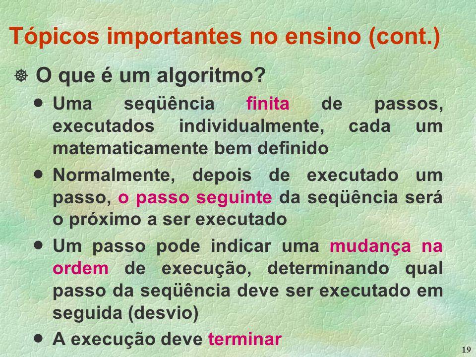 19 Tópicos importantes no ensino (cont.)  O que é um algoritmo.