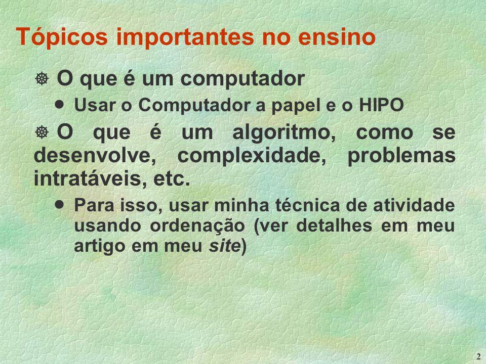 2 Tópicos importantes no ensino  O que é um computador  Usar o Computador a papel e o HIPO  O que é um algoritmo, como se desenvolve, complexidade, problemas intratáveis, etc.