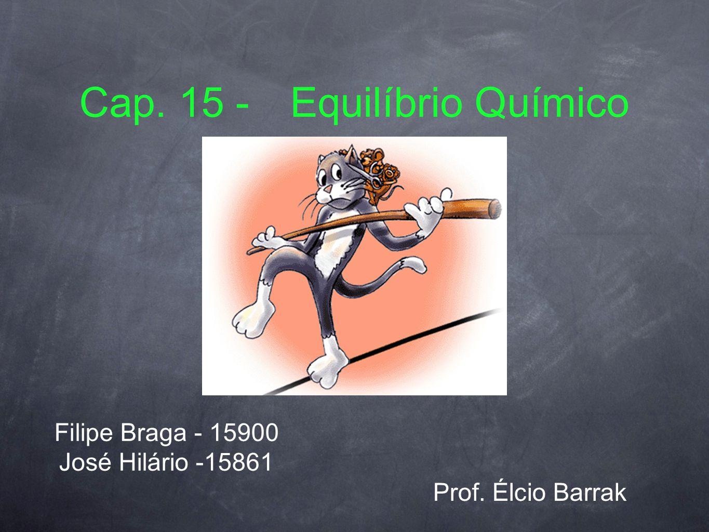 Aplicações das Constantes de Equilíbrio Quociente racional (Q): Q = [Produtos] n / [Reagentes] n Q e K[ mol/l ]Sentido Q > K[ Re ] e [ Pro ] Q = K[ Re ] e [ Pro ] Q < K[ Re ] e [ Pro ]