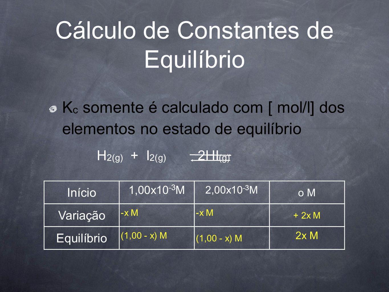 Cálculo de Constantes de Equilíbrio K c somente é calculado com [ mol/l] dos elementos no estado de equilíbrio Início 1,00x10 -3 M 2,00x10 -3 M o M Va