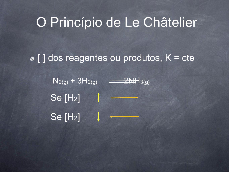 O Princípio de Le Châtelier [ ] dos reagentes ou produtos, K = cte Se [H 2 ] N 2(g) + 3H 2(g) 2NH 3(g)