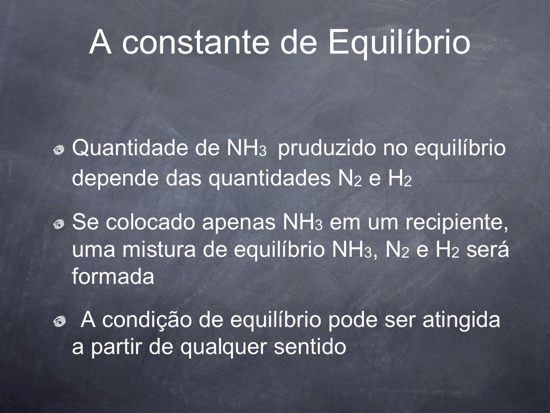 A constante de Equilíbrio Quantidade de NH 3 pruduzido no equilíbrio depende das quantidades N 2 e H 2 Se colocado apenas NH 3 em um recipiente, uma m