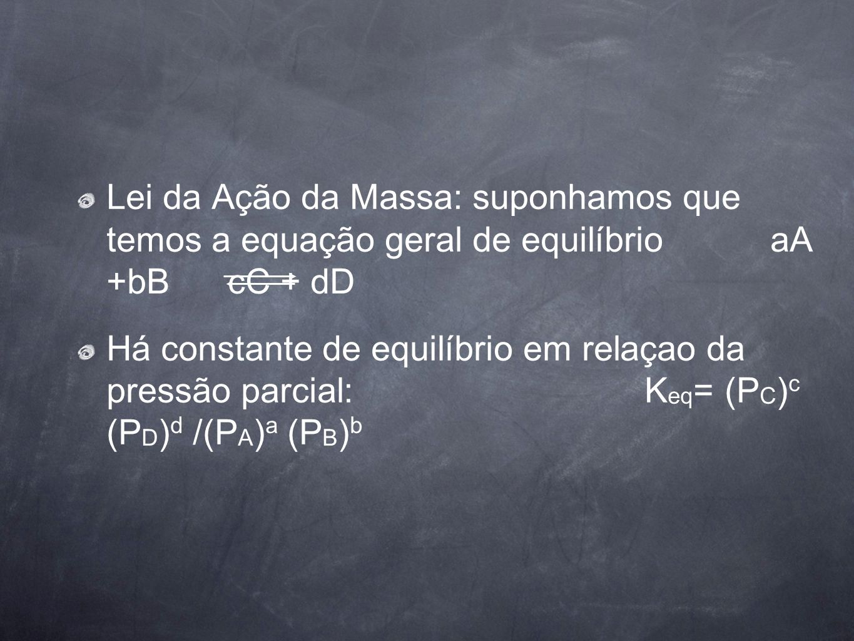 Lei da Ação da Massa: suponhamos que temos a equação geral de equilíbrio aA +bB cC + dD Há constante de equilíbrio em relaçao da pressão parcial: K eq