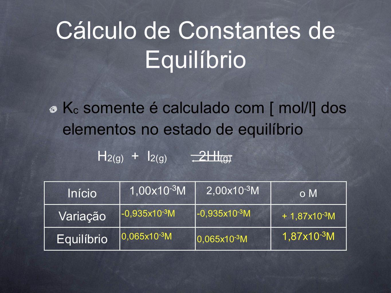 Cálculo de Constantes de Equilíbrio K c somente é calculado com [ mol/l] dos elementos no estado de equilíbrio Início 1,00x10 -3 M 2,00x10 -3 M o M Variação -x M + 2x M Equilíbrio (1,00 - x) M 2x M H 2(g) + I 2(g) 2HI (g)