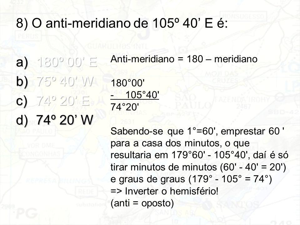 Anti-meridiano = 180 – meridiano 180°00' -105°40' 74°20' Sabendo-se que 1°=60', emprestar 60 ' para a casa dos minutos, o que resultaria em 179°60' -