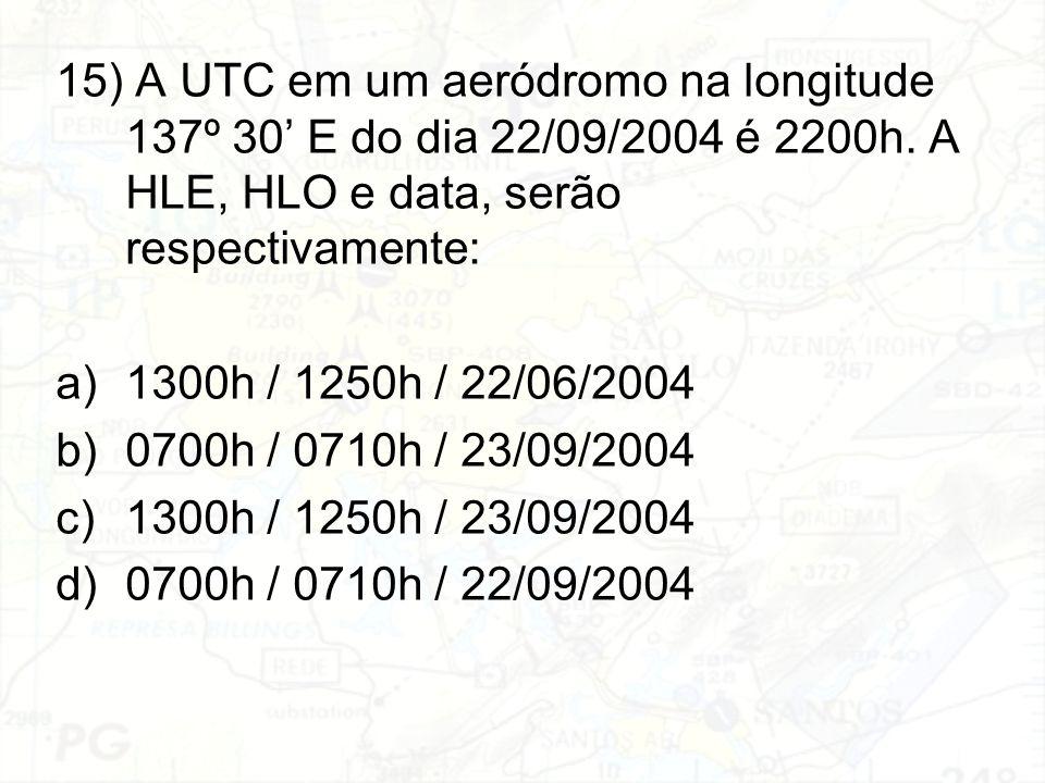 15) A UTC em um aeródromo na longitude 137º 30' E do dia 22/09/2004 é 2200h. A HLE, HLO e data, serão respectivamente: a)1300h / 1250h / 22/06/2004 b)
