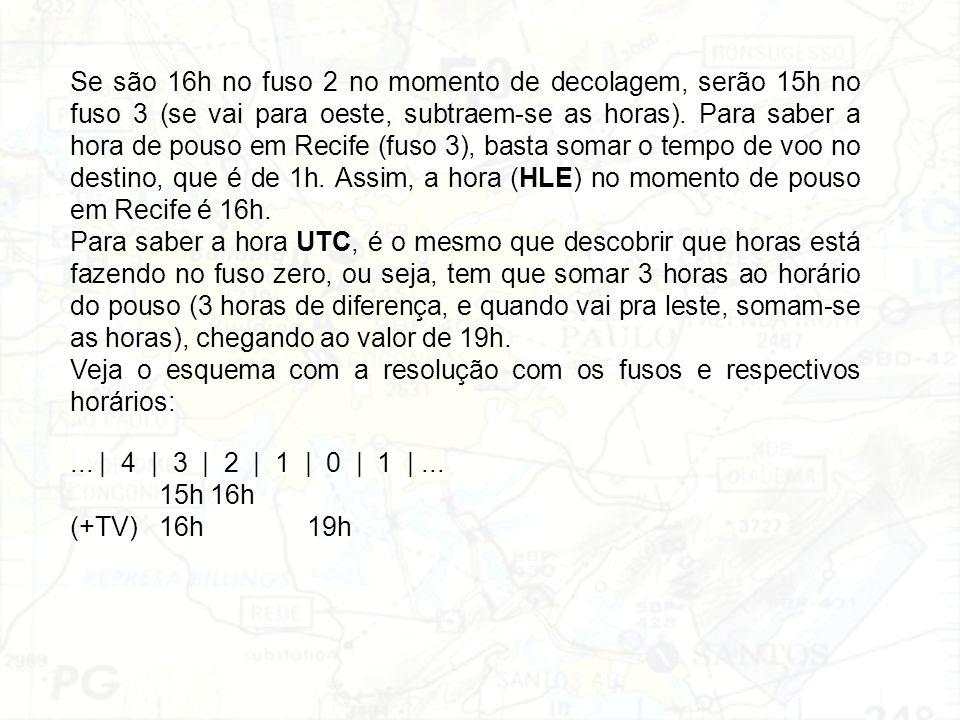 Se são 16h no fuso 2 no momento de decolagem, serão 15h no fuso 3 (se vai para oeste, subtraem-se as horas). Para saber a hora de pouso em Recife (fus