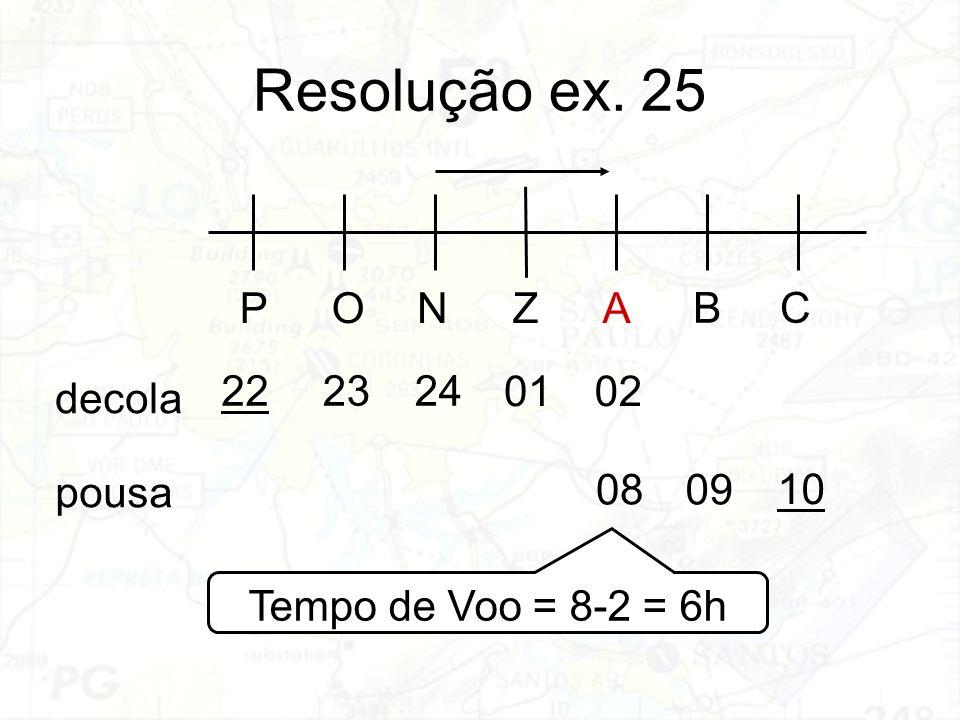 Resolução ex. 25 PONZA BC decola pousa 222324 0102 10 0908 Tempo de Voo = 8-2 = 6h