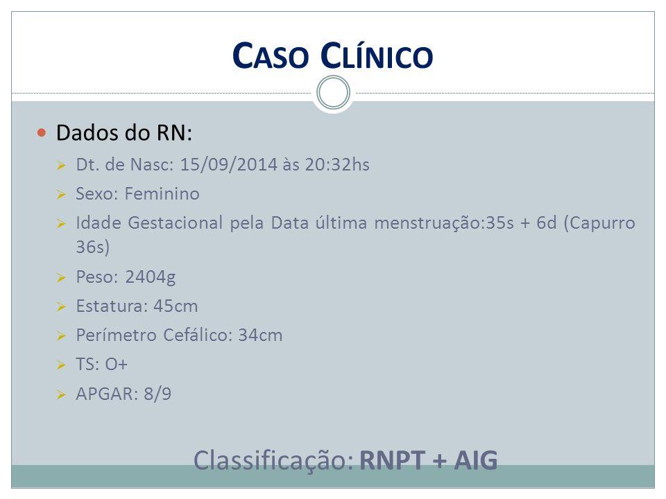 C ASO C LÍNICO Dados do RN:  Dt. de Nasc: 15/09/2014 às 20:32hs  Sexo: Feminino  Idade Gestacional pela Data última menstruação:35s + 6d (Capurro 3
