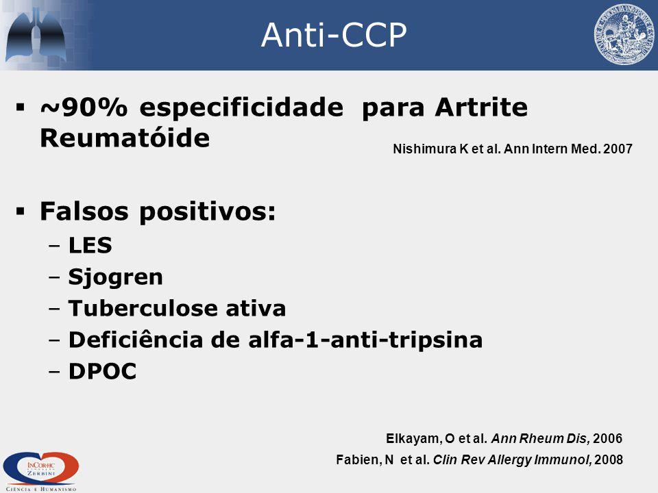 Anti-CCP  ~90% especificidade para Artrite Reumatóide  Falsos positivos: –LES –Sjogren –Tuberculose ativa –Deficiência de alfa-1-anti-tripsina –DPOC Fabien, N et al.