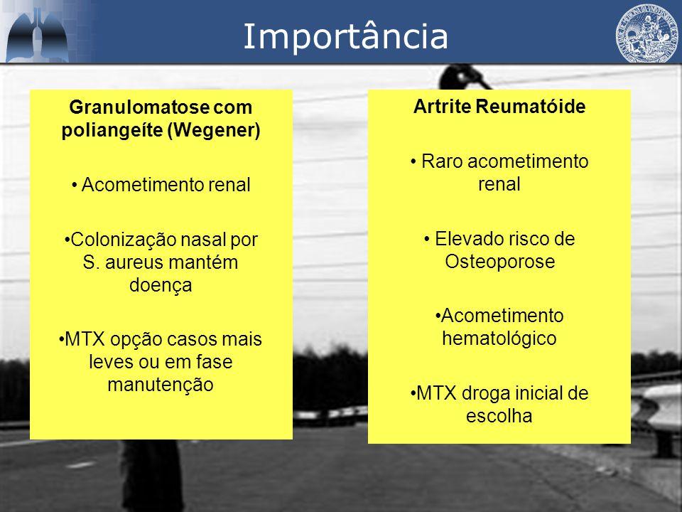 Importância Granulomatose com poliangeíte (Wegener) Acometimento renal Colonização nasal por S.