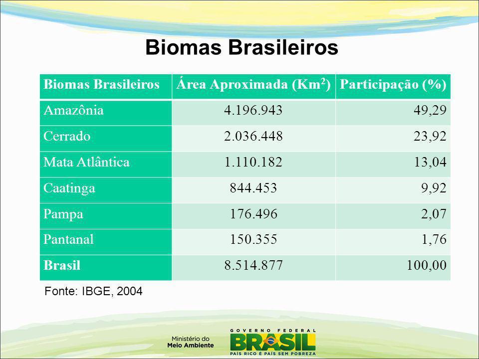 Biomas Brasileiros Área Aproximada (Km 2 )Participação (%) Amazônia4.196.94349,29 Cerrado2.036.44823,92 Mata Atlântica1.110.18213,04 Caatinga844.4539,